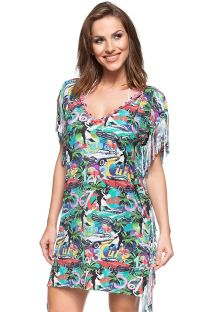 Colourful Cuba printed fringed kaftan - ILHA DE MARAJO