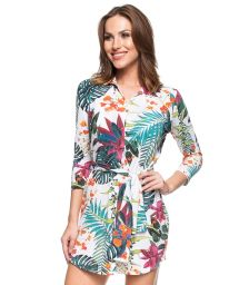 White tropical printed long sleeve shirty dress - ILHA DE ST MAARTEN