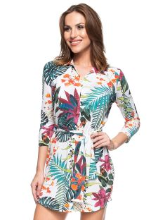 White tropical printed long sleeve shirty dress - ILHA DE ST MAARTEN