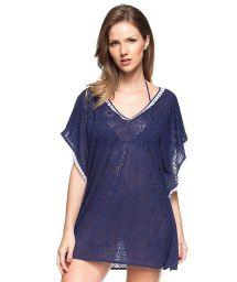 Sea blue kaftan with white tassels - ILHA DE TORTOLA