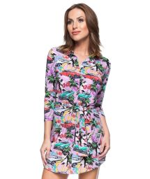 Pink Cuba printed shirt dress - ISLANDIA