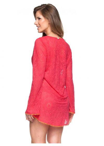 Red crochet beach dress with long sleeves - JARDIM DE VERSAILLES