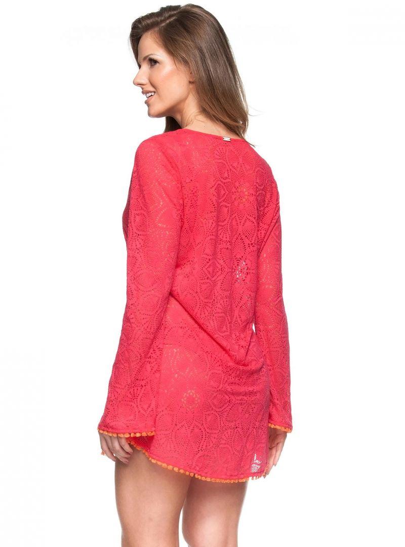 Rödvirkad strandklänning med långa ärmar - JARDIM DE VERSAILLES