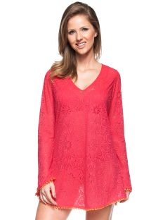 Red crochet beach dress with long sleeves - JARDIM DE VERSAILLES