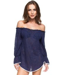 Sea blue off-the-shoulder kaftan - NOVA ESCOCIA