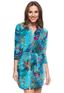 Tropical blue shirt dress - POERTO PLATA