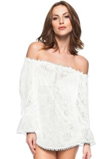 White off-the-shoulder lace beach tunic - PRAIAS DESERTAS