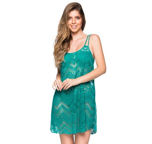 Green beach dress with openwork and thin straps - REGATA ARQUIPELAGO