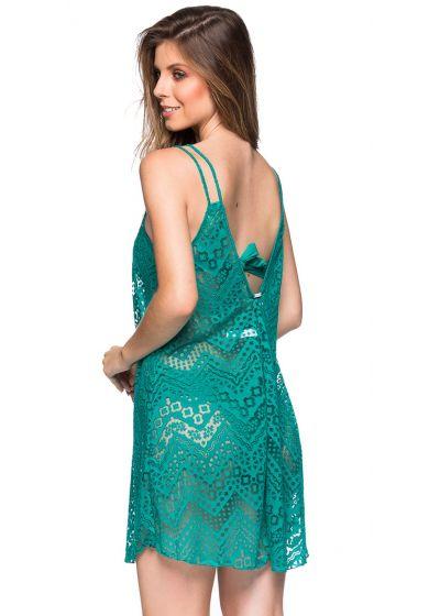 Пляжное платье зелёного цветана тонких бретелях, украшенное ажурными элементами- REGATA ARQUIPELAGO