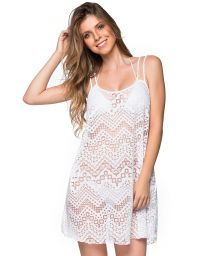 Vit strandklänning med spetsmönster och tunna band - REGATA BRANCO