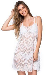 Пляжное платье белого цвета с ажурной отделкой на тонких бретелях - REGATA BRANCO