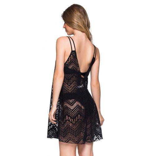 Μαύρο φόρεμα παραλίας με αζούρ σχέδια και λεπτές τιράντες - REGATA PRETO LP