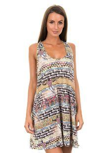 Kort ærmeløs strandkjole med brasiliansk inspireret mønster - SAIDA MODA DA CASA