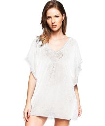 White lace caftan with fringe trim detail - SANTUARIO ECOLOGICO