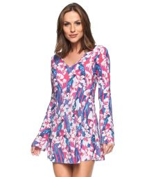 Long-sleeve pink floral beach dress - SINO