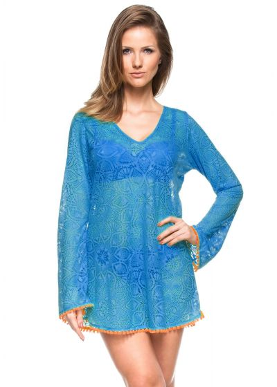 Blue crochet beach dress with long sleeves - SINO DEVORE