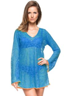 Blue crochet beach dress with long sleeves - SINO DEVORE