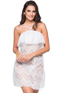 White neck-tie beach dress with ruffles and openwork pattern - TIRAS RUFFLE BRANCO