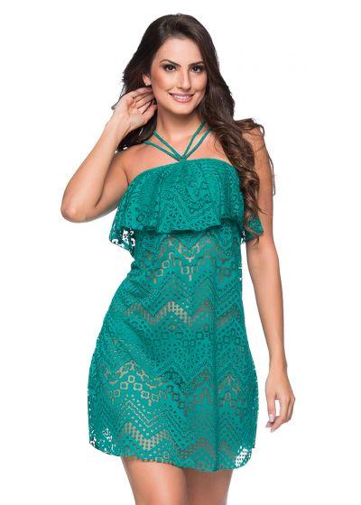 Green neck-tie beach dress with ruffles and openwork pattern - TIRAS RUFFLE ARQUIPELAGO