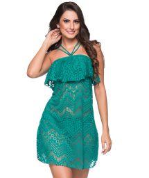 Grön strandklänning med smyckad nacklinje - TIRAS RUFFLE ARQUIPELAGO