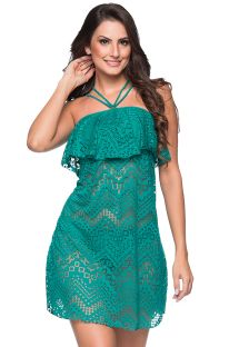 Green neck-tie beach dress with ruffles and openwork pattern - TIRAS RUFFLE ARQUIPELAGO
