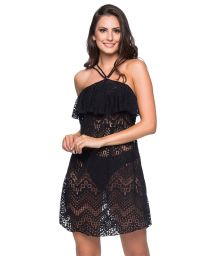 Black neck-tie beach dress with ruffles and openwork pattern - TIRAS RUFFLE PRETO