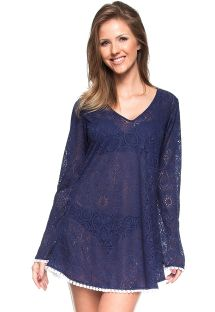 Navy blue crochet beach dress with long sleeves - TOCORORO