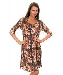 Brown, animal print beach dress - TUNICA GATO