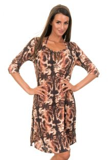 Brown, animal print beach dress - TUNICA GATO