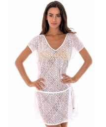 White openwork tunic-style beach cover-up - TUNICA SAIA BRANCA