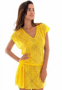 Yellow arabesque pattern beach tunic dress - TUNICA SAIA CARAMBOLA