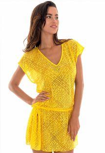 Пляжное платье типа туники желтого цвета с орнаментом арабеск - TUNICA SAIA CARAMBOLA