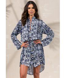 Navy blue dress shirt long sleeves - CHEMISE LAURA