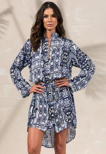 Платье-рубашка темно-синего цвета с длинными рукавами - CHEMISE LAURA