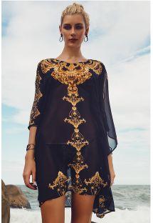 Лёгкое прозрачное платье в восточном стиле чёрного/золотистого цвета - JOAO FERNANDINHO