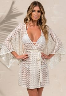 Beige and golden beach cover-up with openwork guipure - KAFTAN LESIE