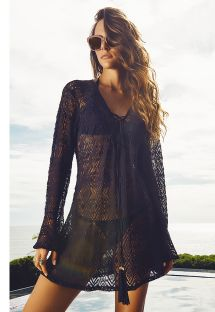 Black open-work beach cover, lace-up neckline  - NASSAU