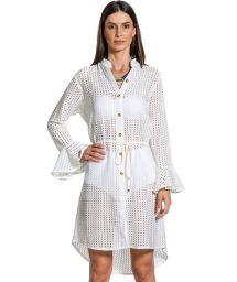 Асимметричное ажурное платье-рубашка белого цвета - RENDA OF WHITE