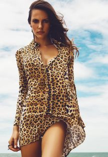 Lightweight animal print shirt - SANTORINI