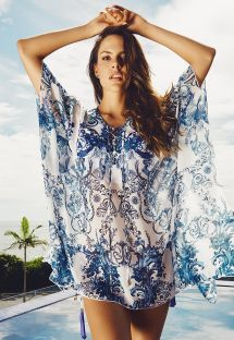 Light Arabesque Print Beach Kaftan - SAO CRISTOVAO