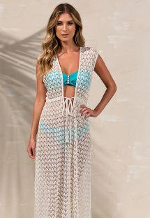 Длинное бежевое пляжное платье с золотистой отделкой - VESTIDO LESIE