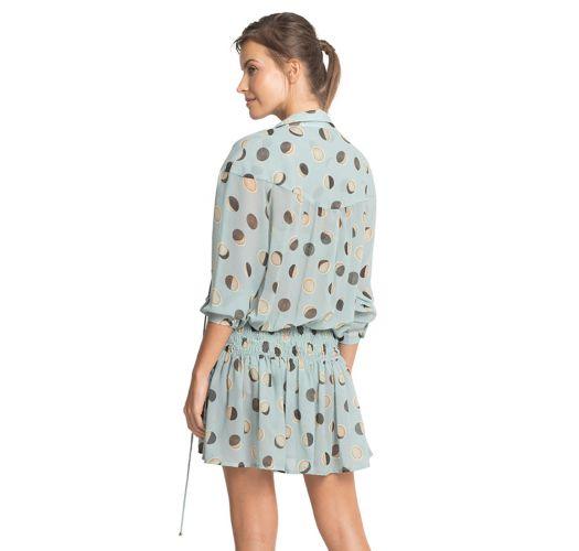 Retro μπλε παλ φόρεμα παραλίας με μακρυά μανίκια - ASTRAL