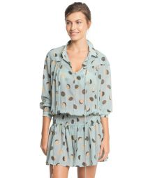 Pale blue retrolong-sleeved beach cover-up - ASTRAL