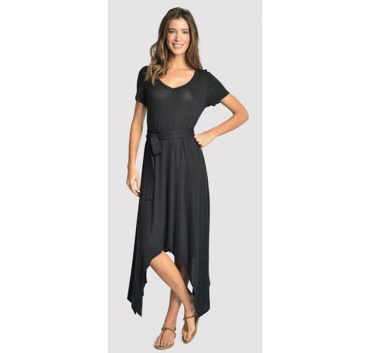 Asymmetrisches gegürtetes Luxus-Strandkleid - ASYMMETRIC DRESS BLACK