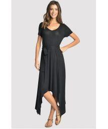 Svart, asymmetrisk lyxig strandklänning med fickor - ASYMMETRIC DRESS BLACK