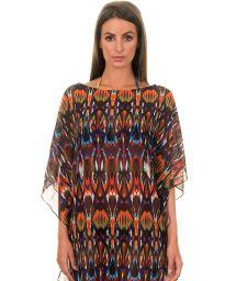 Loose-fitting caftan in multicoloured voile, ethnic print - JU CAFTAN ISTAMBUL