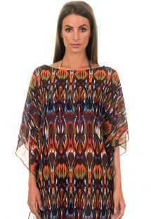 Loose-fitting caftan in multicoloured voile, ethnic print - JU CAFTAN ISTAMBUL