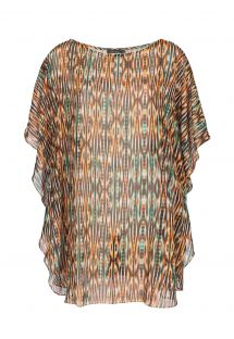 Lightweight, loose-fitting kaftan, ethnic print in shades of brown - JU KAFTAN THAY