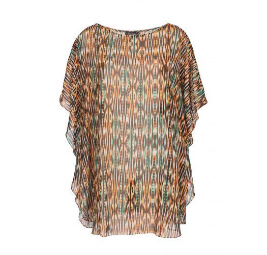 Lightweight, loose-fitting kaftan, ethnic print in shades of brown - JU KAFTAN THAY