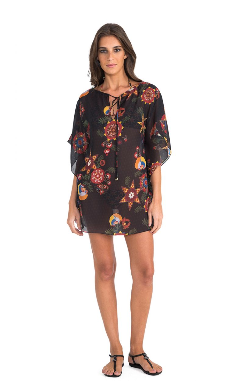 Luxury black kaftan with colourful motifs - NEW JU CAFTAN FOLK